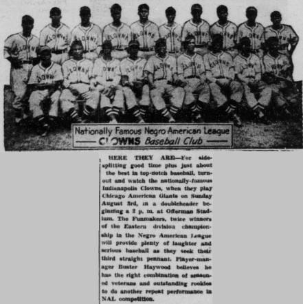 Buffalo Criterion 26 July 1952 - Clowns team picture