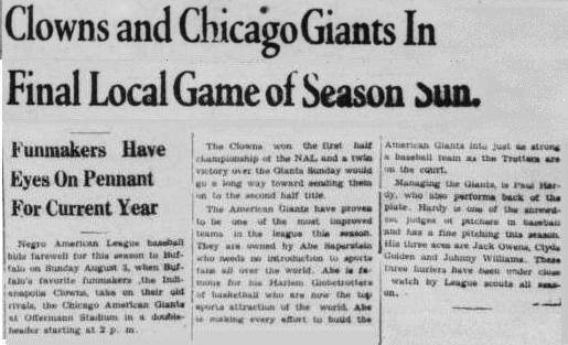 Buffalo Criterion 2 August 1952 - season finale vs Chicago Giants