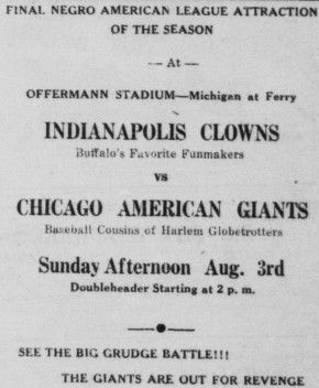 Buffalo Criterion 2 August 1952 - Clowns vs Chicago American Giants