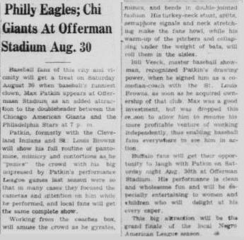 Buffalo Criterion 16 August 1952 - Giants-Stars, Patkin, Veeck