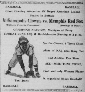 Buffalo Criterion 6 June 1953 - Memphis Red Sox, Toni Stone