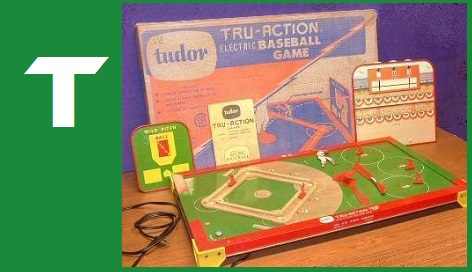 T - Tru-Action Electric Baseball Game, Tudor Metal Products, 1958
