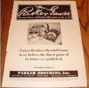 Baseball Game, Parker Brothers, 1951 advertisement