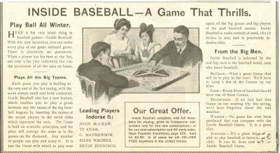 Inside Base Ball, The Popular Games Co, Youth's Companion advertisement, 1915