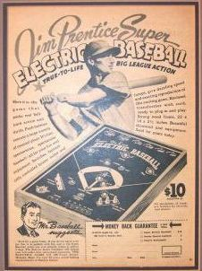 Super De Luxe Electric Baseball, Electric Game Co, 1950s advertisement