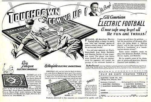 Electric Game Co 1939 ad