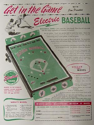 Super De Luxe Electric Baseball - advert, 1949